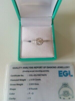 New Stunning 0.50ct Natural Diamond Ring 9ct White Gold. I1 Clarity SizeM • 500£