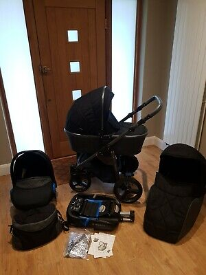 Black Grey Quilted Venicci 3 In 1 Travel System With All Extras And Isofix Base • 210£