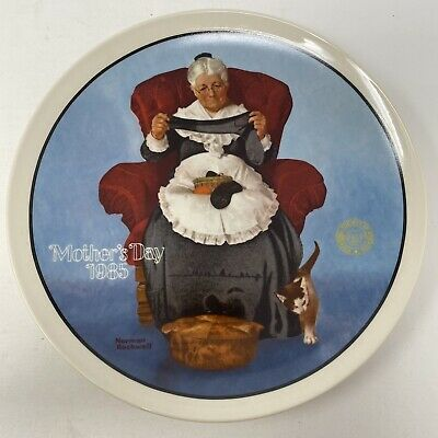 $ CDN12.96 • Buy Norman Rockwell Mending Time Mother's Day Vintage 1985 Plate