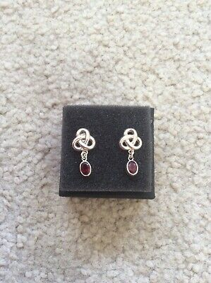 Silver Celtic Style Drop Earrings With Red Gemstones • 2£