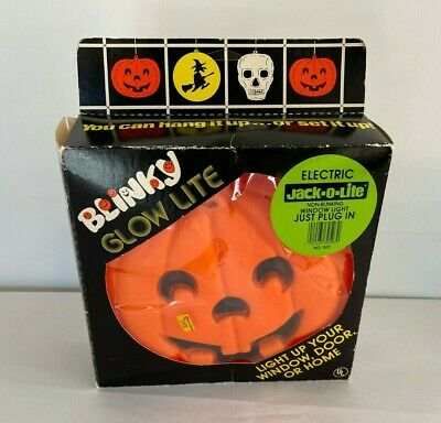 $ CDN38.91 • Buy Vintage  Blinky  Halloween Jack-o-Lantern Blow Mold Glow Lite Original Box