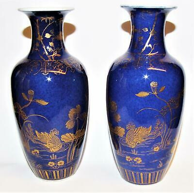 Antique CHINESE POWDER BLUE PORCELAIN Vases GOLD GILT DUCKS Flora KANGXI Rings 2 • 45£