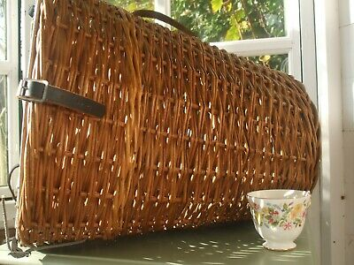 Vintage Wicker Cat  Small Dog Basket Carrier Bed Leather Straps • 12.99£
