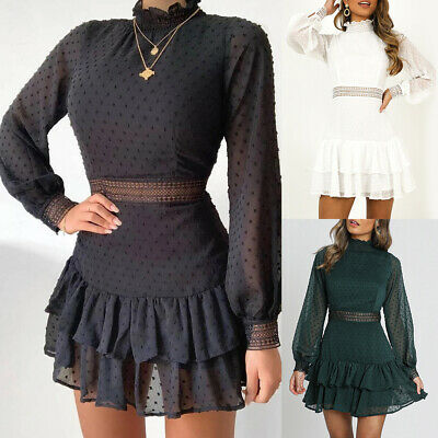 Womens Ruffle Mini Dress Long Sleeve Lace Party Dresses Ladies Ball Prom Gown • 13.49£