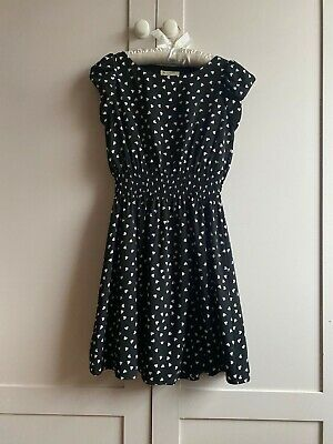 Yumi Girls Black Dress, Age 11-12, Pretty Hearts Print JOHN LEWIS £36 Worn Twice • 9.50£
