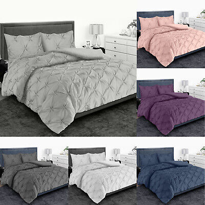 £16.50 • Buy Pintuck Pleated Duvet Quilt Cover Set Single Double Super King Size Bedding