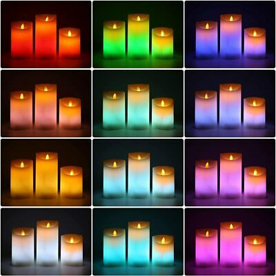 £9.99 • Buy Set Of 3 Flameless LED Pillar Candles Colour Changing Mood Candles