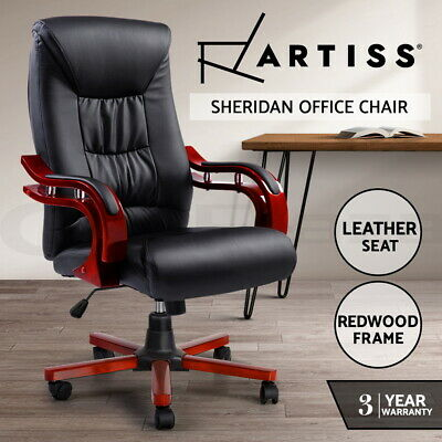 AU159.95 • Buy Artiss Office Chair Computer Desk Chairs Executive Wooden Wood Seat Sheridan