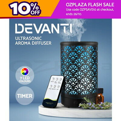 AU37.95 • Buy Devanti Aromatherapy Diffuser Aroma Essential Oils Metal Cover Cool Mist Black