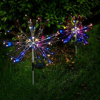 2X 120LED Solar Power Firework Garden Path Lights Lamp Starburst Stake Outdoor • 11.19£