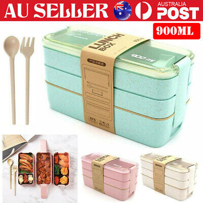 AU10.59 • Buy 3 Layer 900ml Food Container Set Lunch Box For Kids Adults Bento Storage Boxes❤️