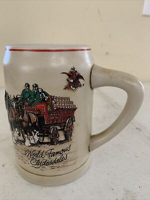 $ CDN14.24 • Buy Budweiser 1980s Holiday Beer Stein Mug World Famous Clydesdales Ceramarte Brazil