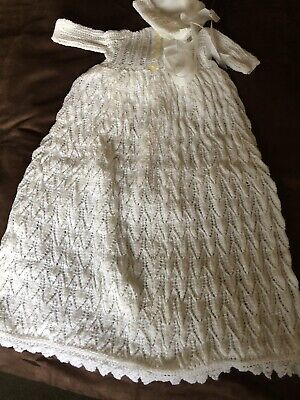 Vintage  Hand Knitted Christening Gown  With Lace Trims • 11.90£
