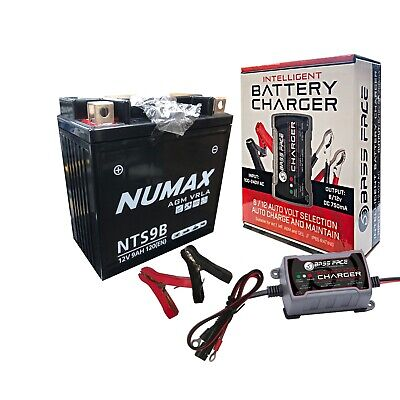 YB9-B 12v Bike Motorcycle Battery CAGIVA 125cc Supercity With Charger Maintainer • 51.51£