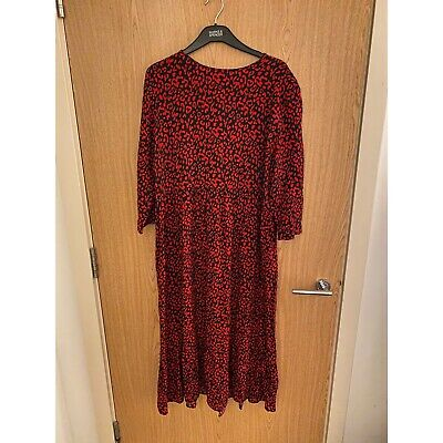 THE Zara Black And Red Leopard Print Dress Size Large • 26£