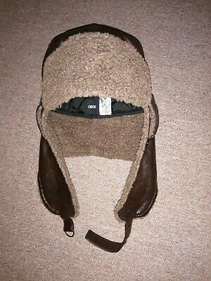 Asos Leather Sherpa Hat Aviator Brown Worn Once • 9£