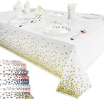 Disposable Table Cover Plastic Desk Cloth Bronzing Dots Tableclot Home Decor  • 4.55£