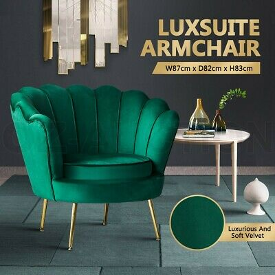 AU229.95 • Buy Accent Armchair Upholstered Green Velvet Dining Lounge Chair Single Soft Sofa