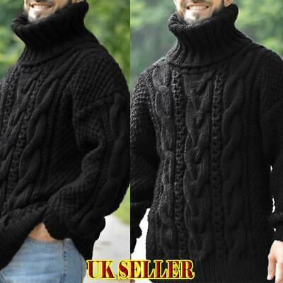 UK Mens High Neck Turtleneck Sweater Long Sleeve Chunky Knitted Tops Winter Warm • 19.71£