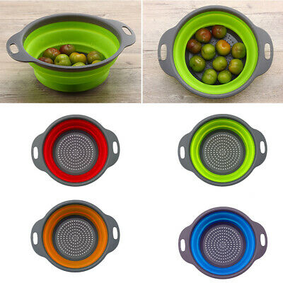 Collapsible Silicone Strainer Sink Colander Fruit Vegetable Washing Drain Basket • 3.98£