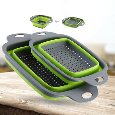 Folding Silicone Drain Basket Sink Strainer Colander Vegetable Washing Tray UK • 3.98£