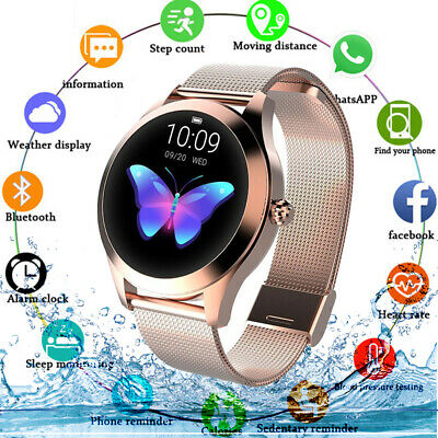 View Details Fitness Smart Watches Bluetooth Gold Women Lady Heart Rate Tracker IOS Android • 30.99£