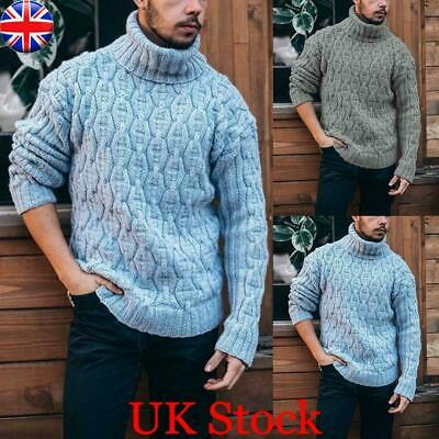 Mens Winter Warm Turtle Neck Chunky Knitted Tops Sweater Casual Pullover Jumper • 18.99£