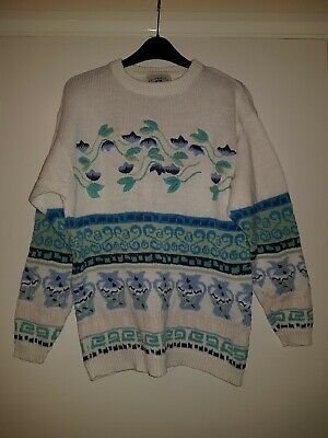 £12.99 • Buy Rare Vintage 1980's Clothkits Embroidered Cotton Knit Jumper Sweater 10-12