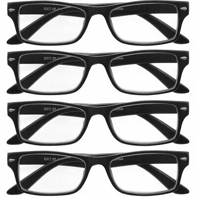 $9.95 • Buy Reading Glasses Mens Womens 4 Pack Square Readers Classic Style Retro New Look