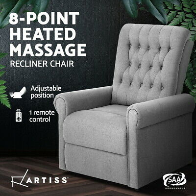 AU185.95 • Buy Artiss Recliner Chair Electric Massage Chairs Sofa Lounge Armchair Fabric Heated