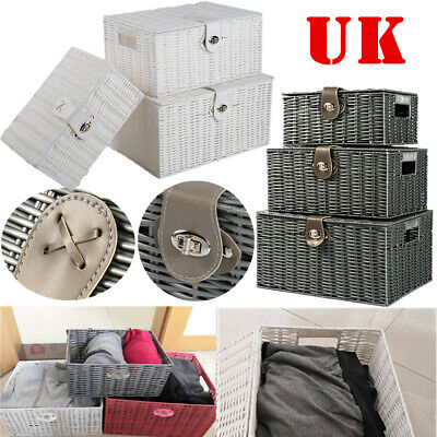 SET OF 3 Storage Baskets Resin Wicker Woven Hamper Box Lid & Lock Stackable UK • 17.99£
