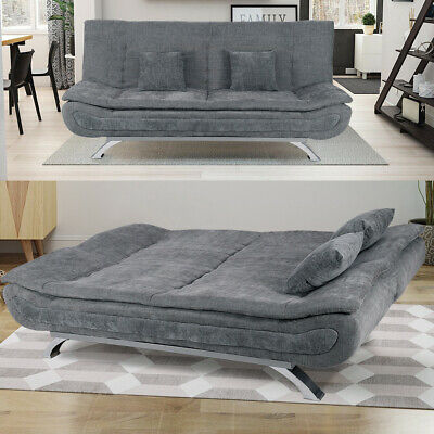 Large Sofa Bed 3 Seater Padded Sleeper Couch Pillow Chrome Leg Linen Upholstered • 369.95£