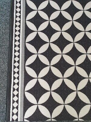 Black/White Mosaic Tile Pattern Runner 67cm/2'2'' Wide. Rug/Stairs/Hall/Washable • 60£