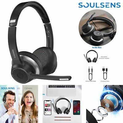 £36.05 • Buy Soulsens Wireless Bluetooth Computer Headphones Headset For Call Center Calling