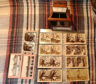 Antique Wooden Brewster Type Stereoscope Viewer, 1870's With Period Slides • 150£