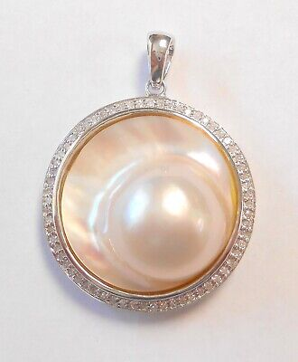 $695 • Buy Fabulous 26mm Mabe Pearl With Rainbow Luster 14K Gold Pendant  Halo Of Diamonds