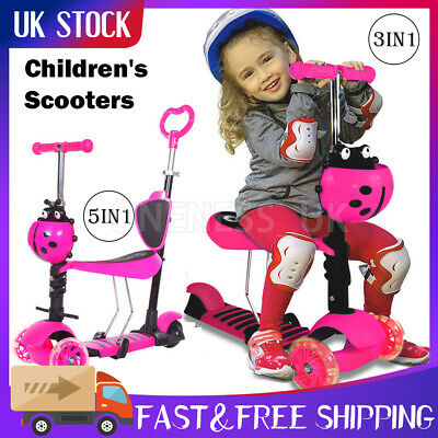 5 In 1 Kids Play Scooter 3 Wheel  Kick Scooters Adjustable Seat Toddler PINK • 3.20£