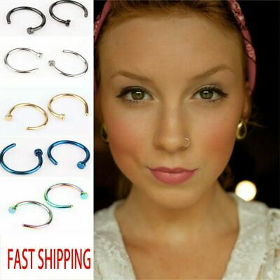 AU3.47 • Buy Unisex Small Fake Nose Ring Ear Lip Body Piercing Jewellery Silver Gold Black