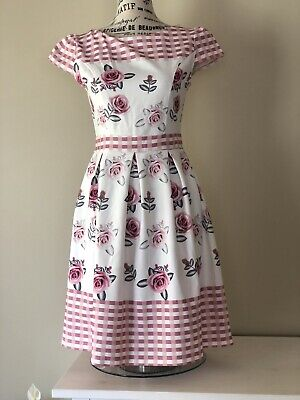 AU33 • Buy 'Zara Anos-Years' 50's Style Dress. Approx Womens Size 8. White W/Pink Floral.👗