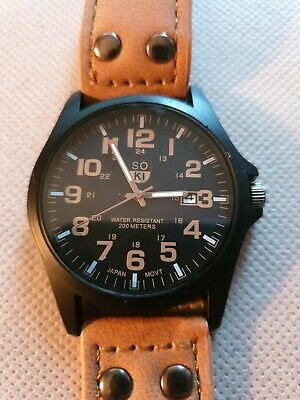 £4.99 • Buy SOKI Military Style Watch. Beige Strap, Date Function. 200mtrs Water Resistant