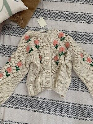 Chunky Floral Hand Knitted Knit Cardigan One Size S-M Vita Grace • 26£