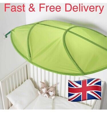 IKEA New Lova Green Childrens Childs Baby Over Cot Bed Leaf Shaped Bed Canopy • 15.99£