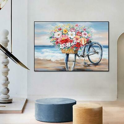 AU39.39 • Buy  Flowers On The Bike Oil Painting On Canvas Print Nordic Poster Wall Art Picture