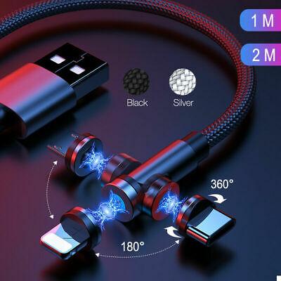 AU11.88 • Buy 360º + 180º Magnetic Type C Micro USB Charger Charging Cable For IPhone Samsung