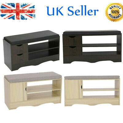 Wooden Shoe Bench Shoe Storage Cabinet White Hallway Bench With Seat Cushion • 50.99£
