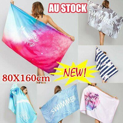 AU22.74 • Buy 80x160cm Ex Large Microfibre Sand-free Beach Towel Quick Dry Travel BPCh Towel &