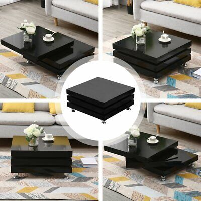 360° Rotating Coffee Table High Gloss Square Layers Indoor Living Room Furniture • 159.99£