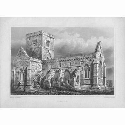 £11.95 • Buy Iona Cathedral, South East View - Antique Print C1848