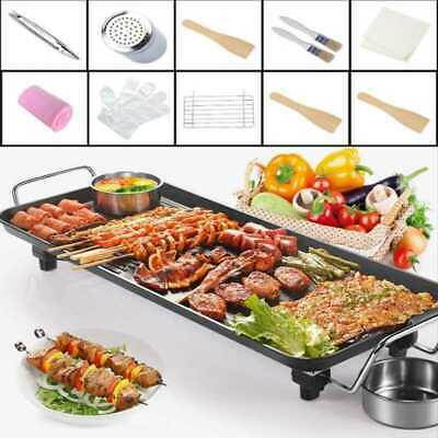 Electric BBQ Table Top Grill Barbecue Plate Griddle Pan With Cooking Utensil Set • 29.15£