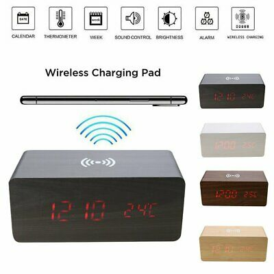 Wooden LED Alarm Clock With Qi Wireless Charging Pad Sound Control Charger • 18.31£